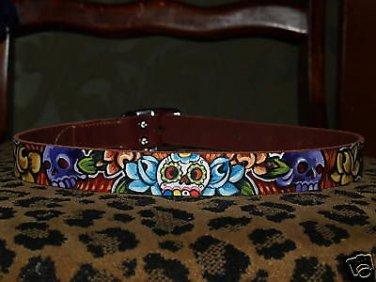 Tattoo Leather DOG collar SKULLS Roses MEXICAN ART Med