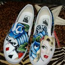 Custom TATTOO hand painted WOmens size 8 VANS Sailor 3 horses trad roses design