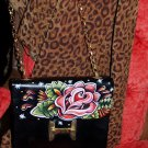 Orig VintageTATTOO handbag purse sailor ROSE folk ART
