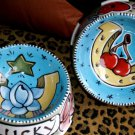 2 Tattoo DOG Bowls Nautical horseshoe LUCKY SMALL for dogs or cats food safe