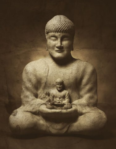 Sitting Buddha art print signed sepia tone peace ohm meditate ZEN artist gallery