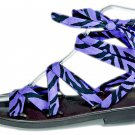 Rockabilly pin up purple and black zebra straps sandals 7 sandal 1 in heel VOGUE