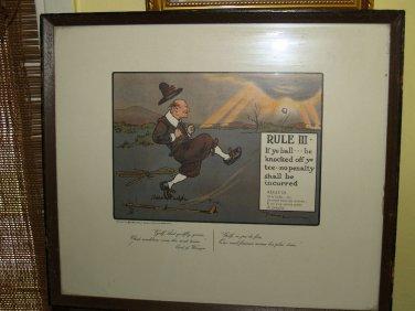 Antique 60s print Chas Crombie Perrier Print Crombies rules of GOLF III CHARLES