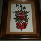 TATTOO framed sailor Painting Clasped hands Heart ORIG.