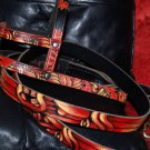 Tattoo Leather Black DOG collar RED TIKI Rockabilly Sml