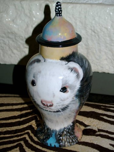 Custom X SMALL Pet portrait urn for ferret bird cats ashes funeral urn memorial