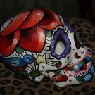 TATTOO Day of the DEAD SKULL Sailor Rose Dagger Skulls hand painted bisque star