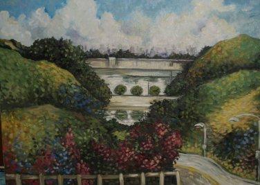Impressionist Plein Air OIL painting LAKE HOLLYWOOD CA