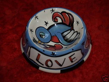 Tattoo Dog Bowl cat Bowl Sparrow LOVE banner cherry