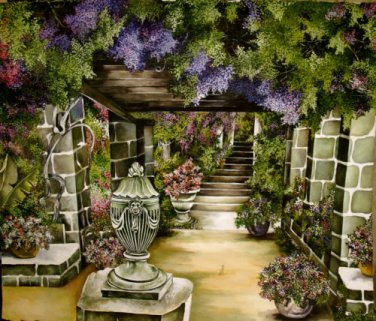 Impressionist WATER COLOR painting Garden scene Neo classic Architectural 22x26