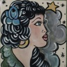 Vintage tattoo sailor ceramic TILE GYPSY Girl trivet