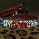 Tattoo Leather DOG collar KOI Asian wave Flower oni small brown or black leather