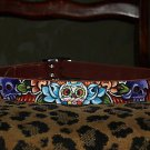 Tattoo Brown Leather DOG collar Day of the DEAD Skull Roses 18 inches Tattooed