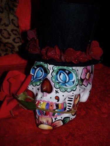 Custom Day of the DEAD SKULL Tree Topper Hand painted FOlk ART top hat rose DOD