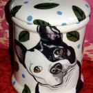 Tattoo DOG dish Doggie Cookie Jar Boston terrier LARGE