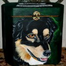 Custom hand painted portrait memorial LARGE Wood box Pet URN english shepherd