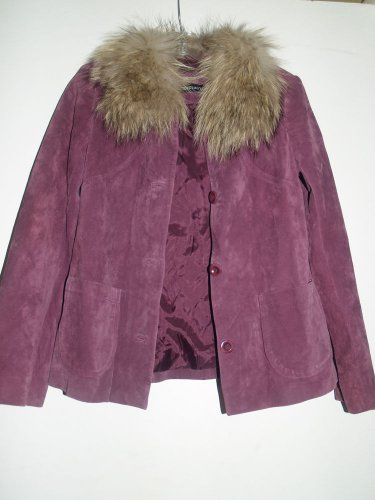 IDEOLOGY purple sude jacket fix fur collar size XS leather GREAT lined boho