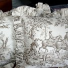 2 English Brown TOILE PILLOWS Hunting Scene Cotton RaRe