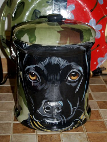 Custom memorial Pet DOG black lab cremation urn all breed types portrait jar
