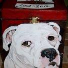 Custom hand painted portrait memorial LARGE Wood box Pet URN pit bull bull dog