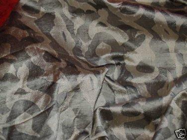 Designer SILK drapery fabric 21 x 35 pewter gold swirl
