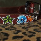 Tattoo Leather DOG collar LUCKY anchor skull nautical Larger sized dog or pet