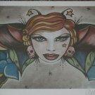 Ltd. Edition s/n Tattoo pin up print butterfly wings stars