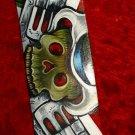 TATTOO Leather Guitar strap SKULL confederate flag GUNS
