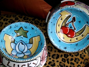 2 CUSTOM Small Dog bowls Tattoo STYLE Nautical star