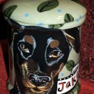 Tattoo DOG canister Doggie Cookie Jar Doberman Cannister dogs LARGE all breeds