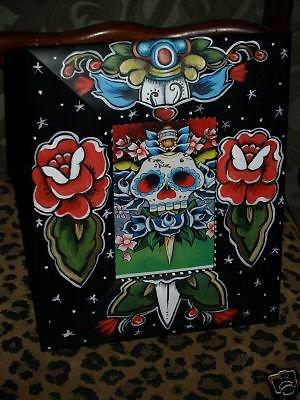 TATTOO frame sailor SKULL Day of the dead FRAMEs Kahlo roses Dagger Hand Painted