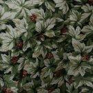 Vintage DESIGNER cotton FABRIC 1 3/4 yards floral leaf