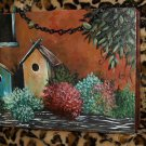 TATTOO handbag purse GARDEN pocketbook BIRDHOUSE ORIG.