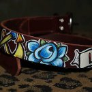 Tattoo Leather DOG collar LUCKY anchor skull nautical Small size dog 3/4 in wide