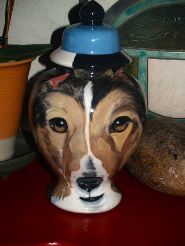 Custom Portrait MEMORIAL Pet URN DOG Collie cremation ASHES burial vessel Lassie