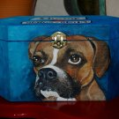 Custom hand painted portrait memorial LRG Wooden box BOXER urn any Pet URN RARE