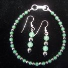 Aventurine and Hematite Sterling Silver bracelet set by A Touch of Earth