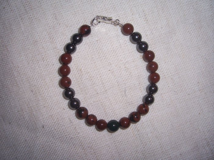 Hematite Mahogany Obsidian Bloodstone Sterling Silver Mens bracelet by A Touch of Earth