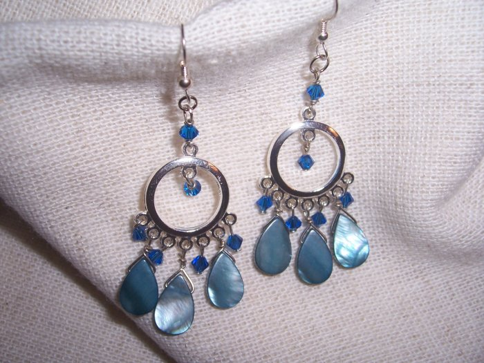 Blue Paua Shell with Swarovski Capri Crystal Chandelier