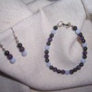 Blue Lace Agate with Amethyst and Hematite bracelet set by A Touch of Earth