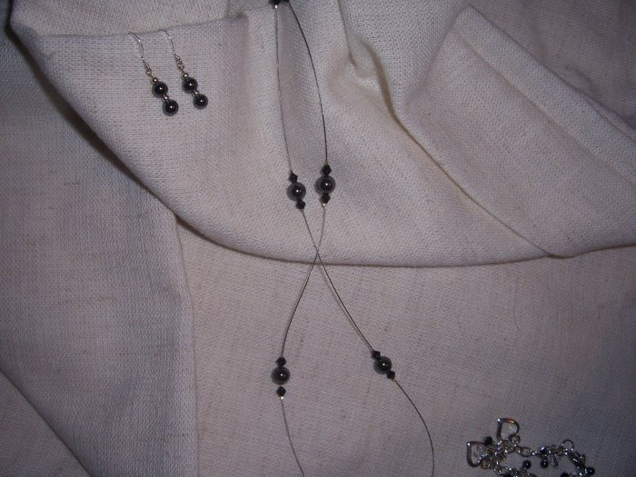Floating Hematite and Black Crystal Necklace w/ Earrings