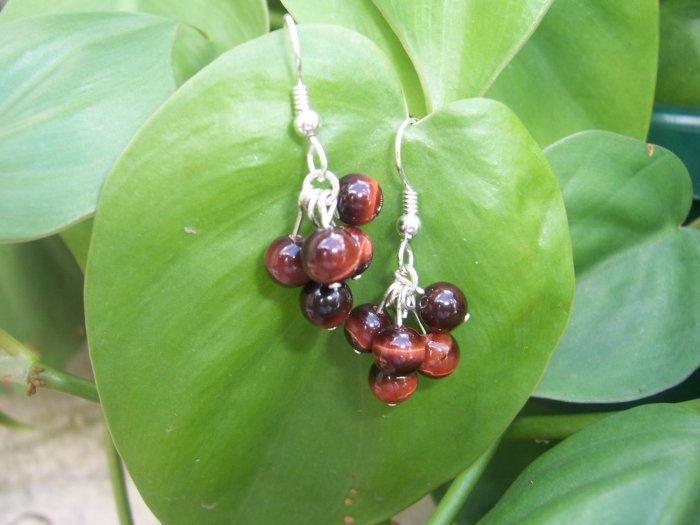 Red Tiger's Eye Bubble earrings by A Touch of Earth