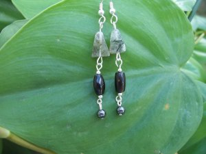 Tourmalinated Quartz, Coral, & Hematite Sterling Silver earrings by A Touch of Earth