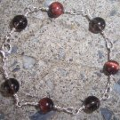 Red Tiger's Eye with Smoky Quartz Sterling Silver bracelet by A Touch of Earth