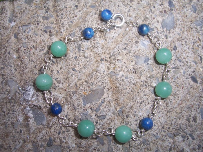 Amazonite and Lapis Lazuli Sterling Silver bracelet by A Touch of Earth
