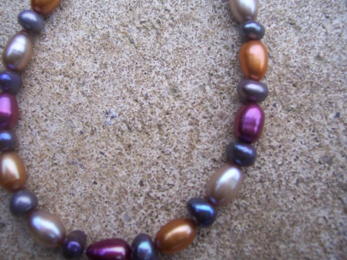 Multi-colored Freshwater Pearl Sterling Silver bracelet by A Touch of Earth