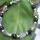 Tourmalinated Quartz and Blackstone Sterling Silver bracelet by A Touch of Earth