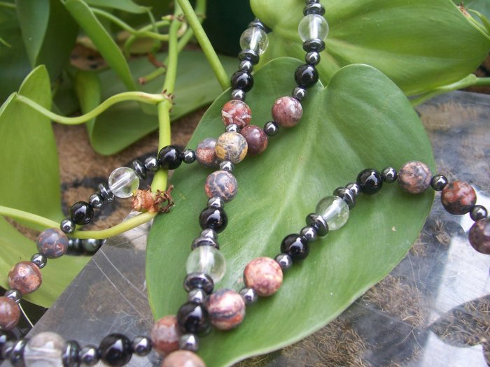 Rhodolite Clear Quartz Blackstone and Hematite Sterling Silver necklace by A Touch of Earth