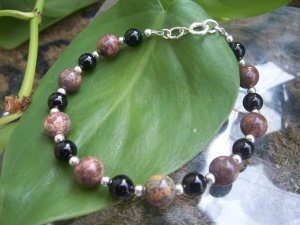 Rhodolite Blackstone and Hematite Sterling Silver bracelet by A Touch of Earth
