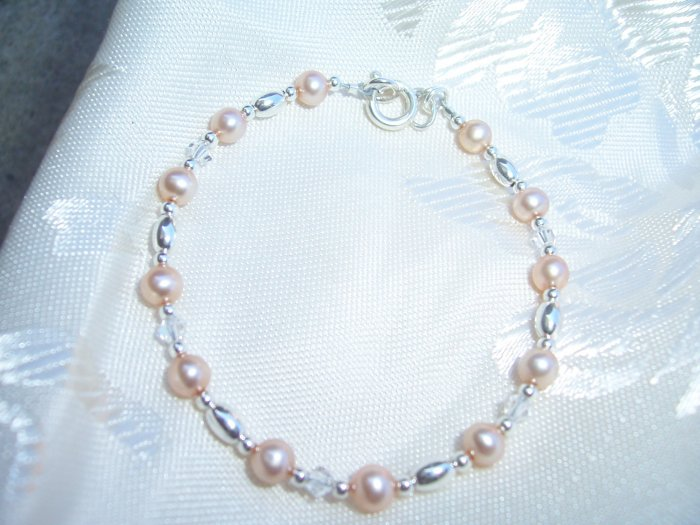Princess Pearls Swarovski Crystal Sterling Silver bracelet by A Touch of Earth